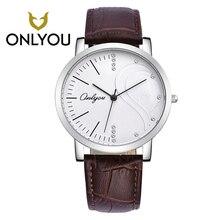 ONLYOU брендовые модные часы роскошные часы, пары кожаные женские часы Стразы Водонепроницаемый кварцевые наручные часы