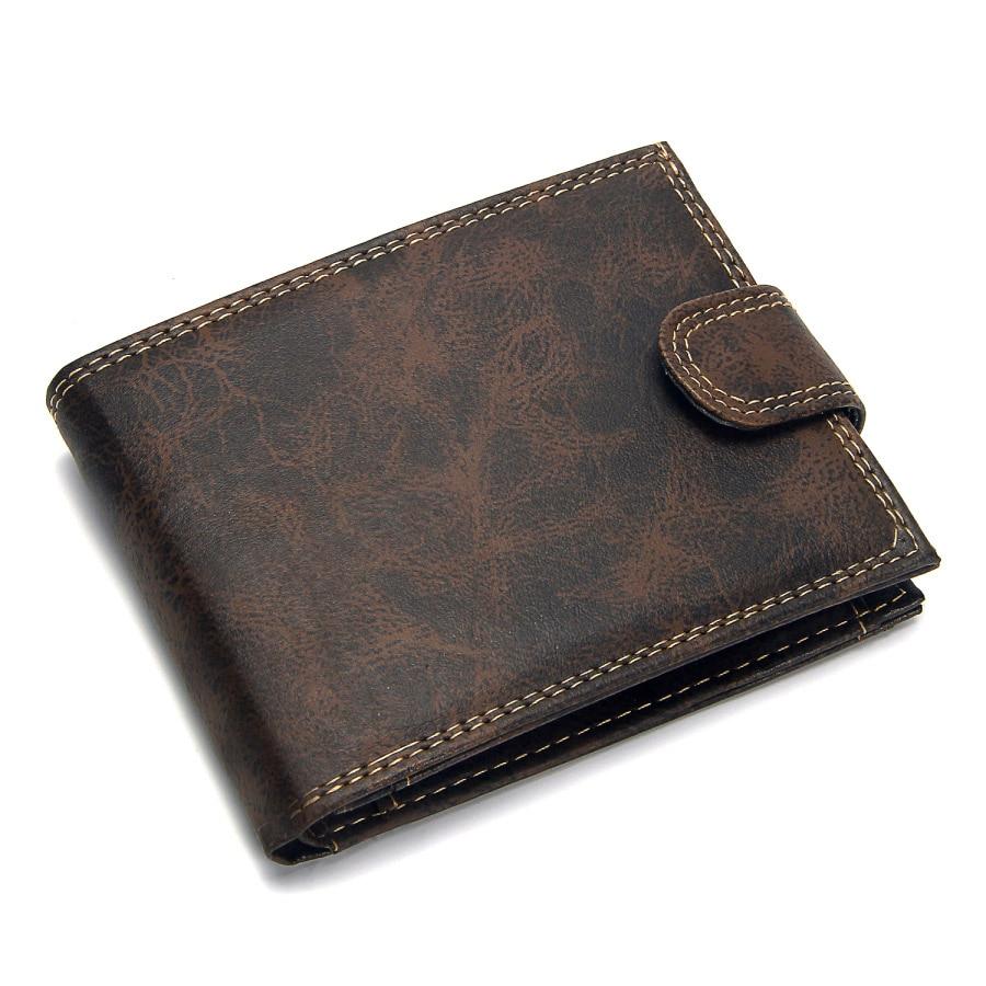 Роскошный дизайнерский мужской кошелек из кожи пу, Двойные Короткие Кошельки, мужские винтажные кошельки с застежкой, кошелек для монет, многофункциональный кошелек для карт - Цвет: Коричневый