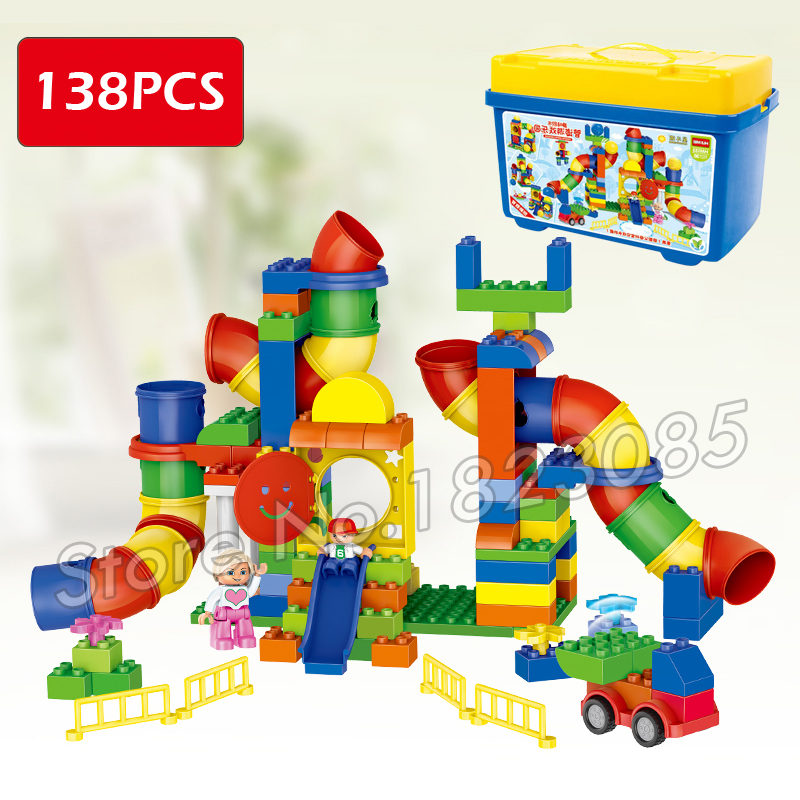 138pcs My First Pipeline Castle Creative Play All-in-One Game Model Building Blocks Bricks Compatible With Lego Duplo my first animals