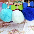 15Colors Christmas Gift  Bowknot Fur Pom Keychain Real Rabbit Fur Ball Key Chains Fur Key Ring Key Chain For Women Bag keychains