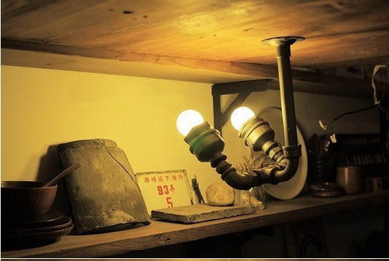 Retro Loft Style Vintage Industrial Lighting LED Wall Lamp With 2 Lights Fixtures,Iron Water Pipe Lamp LED Wall Sconce