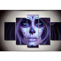 5D Diy Diamond Painting Skull Woman Cross Stitch Horror Halloween Decorative 5 Sets Of Combination Full