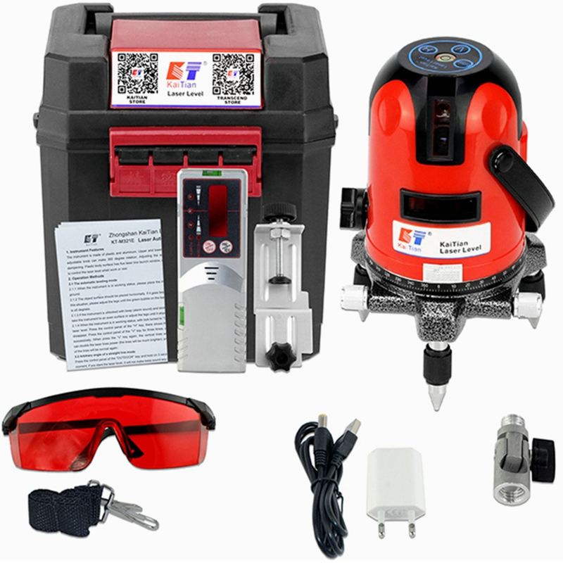 KaiTian Laser Level Receiver 2 Lines 2 Points Self-Leveling 360 Rotary Horizontal 635nm Vertical Livella Laser Line Levels Tools professional 2 lines 2 points 360 rotary cross laser line leveling self leveling precision laser level kit with tripod