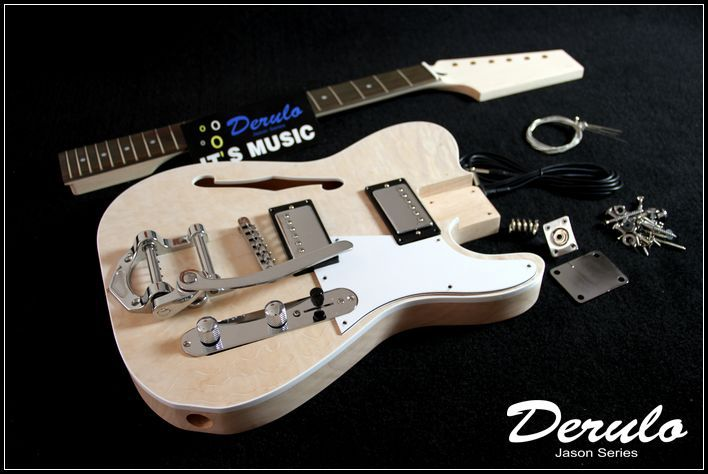 DIY Semi-Hollow Body Electric Guitar Kit  Bolt-On  Mahogany Vibrato Tailpiece MX-023 бюрократ ch 868axsn