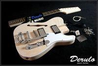 DIY Semi Hollow Body Electric Guitar Kit Bolt On Mahogany Vibrato Tailpiece MX 023