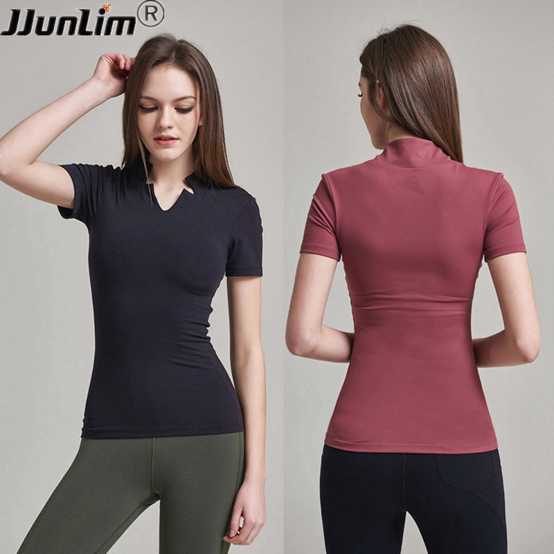 Stand Collar Women Yoga Shirt Short sleeve Padded Sport T Shirts Quick Dry Slim Running Top Shirt Female Gym Fitness sportswear