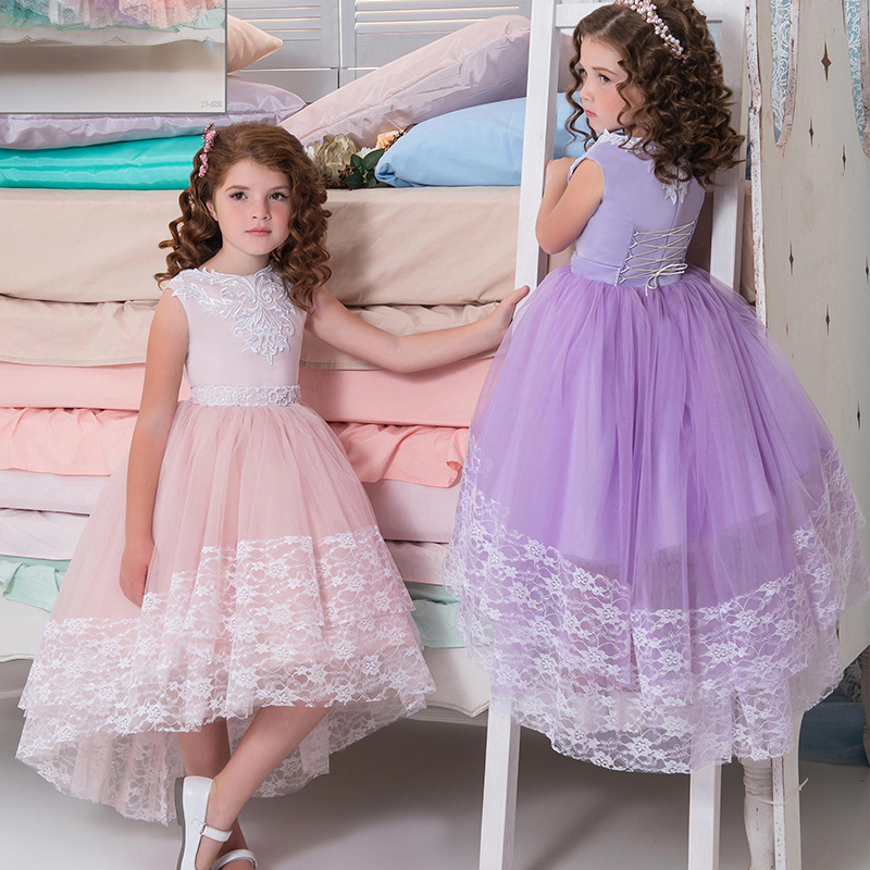 ac3d3a46f7908 High Low Cute Purple Flower Girl Dresses with Lace Nice Ball Gown Girl  Pageant Dress Kids Evening Prom Dress for Birthday Party-in Flower Girl  Dresses from ...