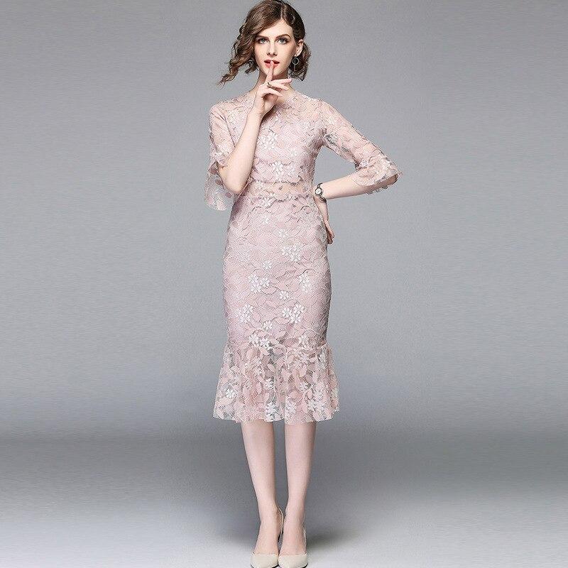 Multiflora élégante dentelle flare manches sirène courte robe été 4 couleurs travail fête décontracté