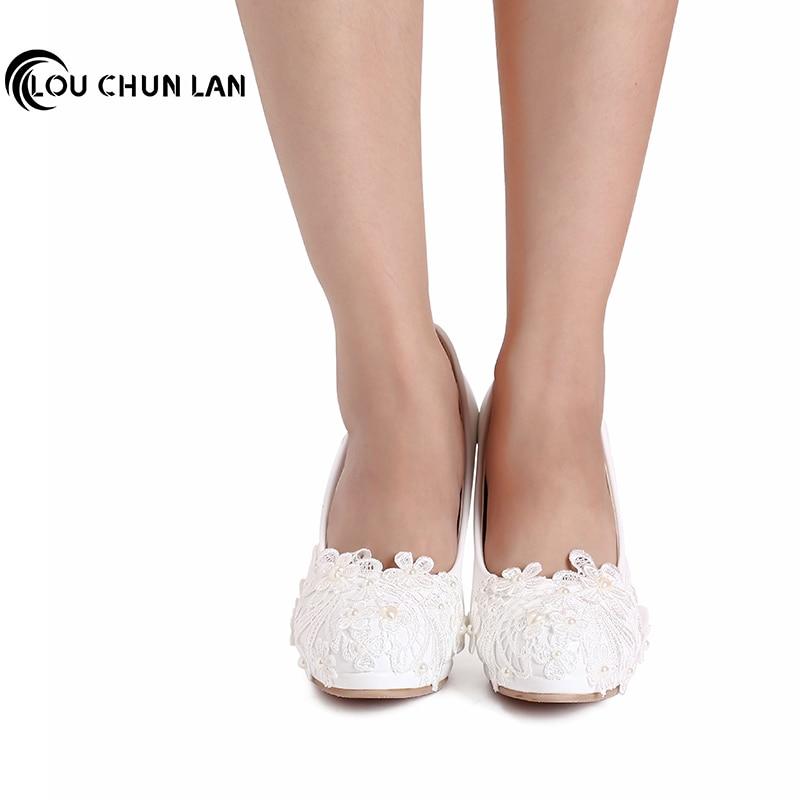 Saiz besar 41-48 Kasut perkahwinan buatan tangan Kasut putih mutiara - Kasut wanita