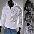 New Winter Fashion Tattoo Printed Flannelette Fleece Foreign Trade Wholesale Sets Men's Hooded Fleece