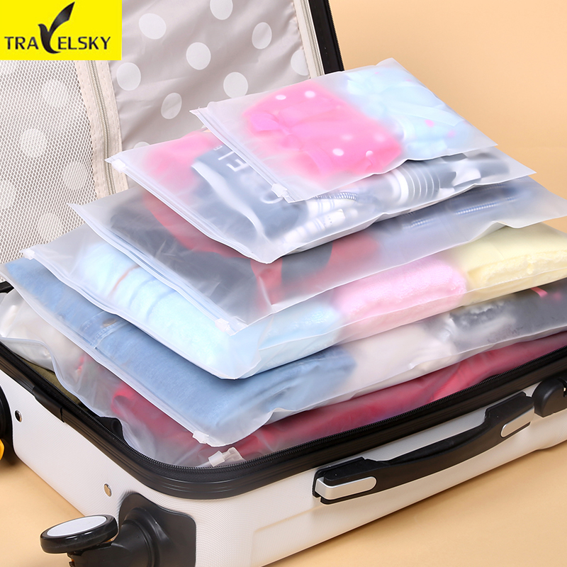 Travelsky 7 Pcs/Set Travel Accessories Clothes Luggage Self-sealing Wash Protection Stor ...