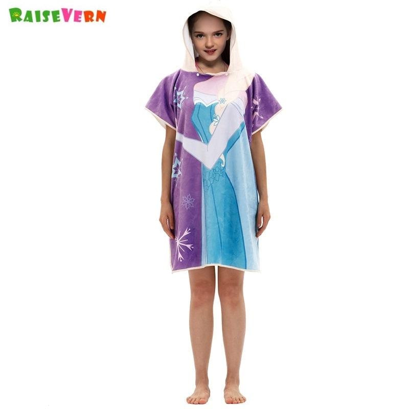 Rechtdoorzee Cartoon Kinderen Hooded Mantel Anna Elsa Flamingo Gedrukt Baby Jongens Meisjes Kids Strandlaken Zwemmen Bad Hooded Handdoek 152*69 Cm
