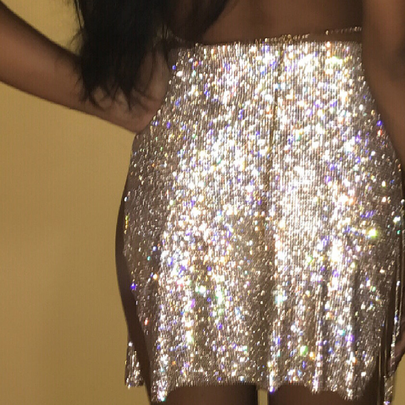 AKYZO 2017 Luxury Rhinestone Chain Alloy Skirt Women A Line Sexy Nightclub  Handmade Shining Open Fork Package Hip Mini Skirts-in Skirts from Women s  ... ff4e9b2a4768