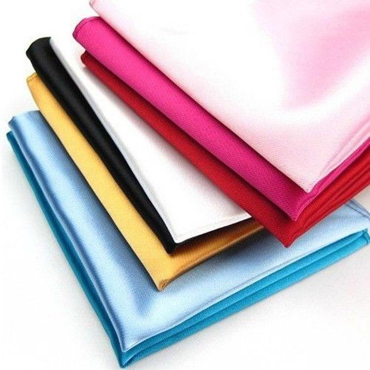 Fashion Mens Satin Pocket Square Hankerchief Hanky Plain Solid Color Suit Decoration Drop Shipping