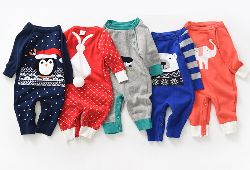 Baby Christmas Clothes 2017 Boys and Girls Autumn Winter Rompers Knitted Sweater Cotton Infant Overalls for The New Year gift cotton baby rompers set newborn clothes baby clothing boys girls cartoon jumpsuits long sleeve overalls coveralls autumn winter