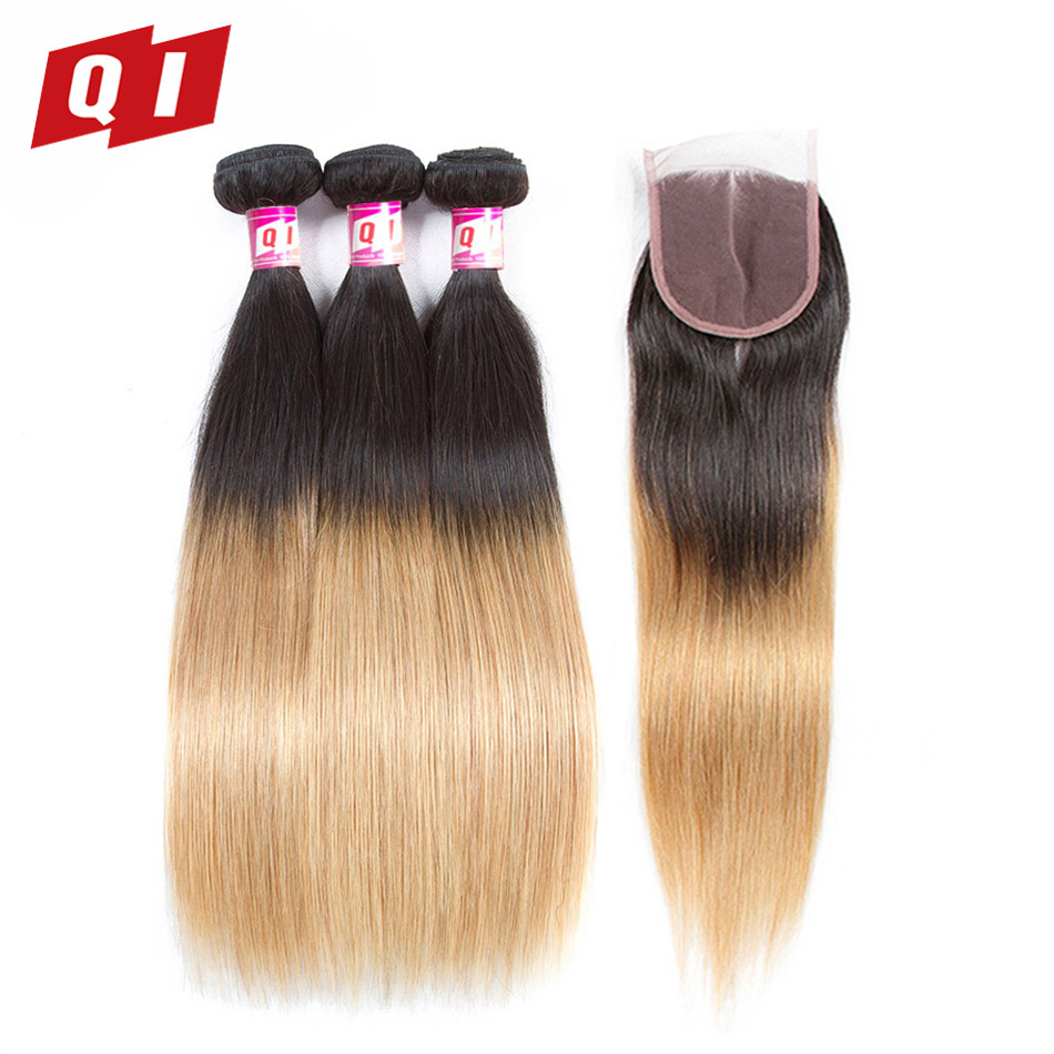 QI Hair 4 Pcs 1B/27 Straight Brazilian Non Remy Hair Weave 100% Human Hair 3 Bundles With 4*4 Lace Closure Free Shipping