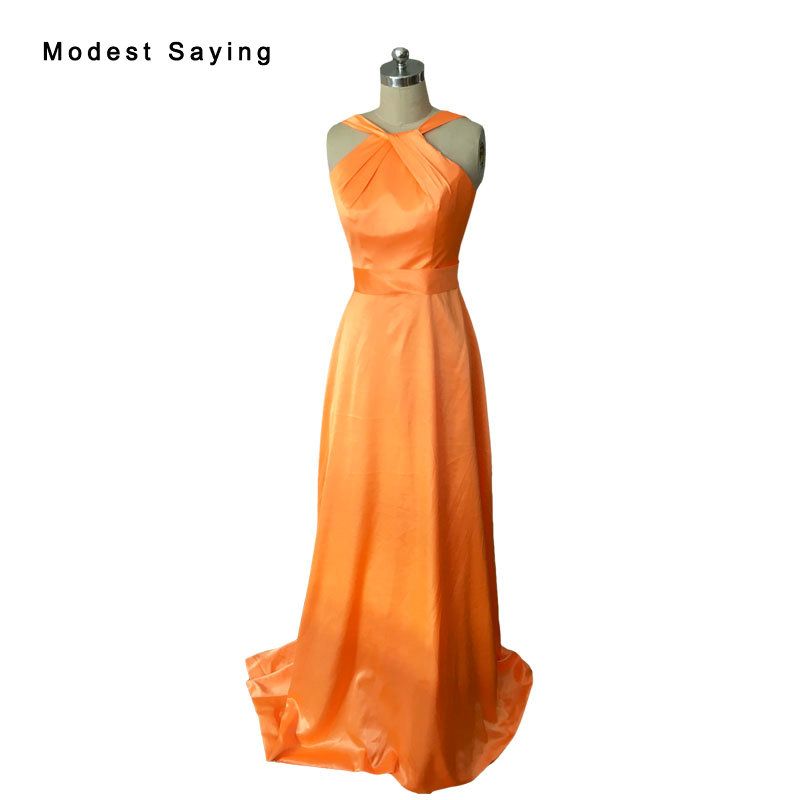 Elegant Orange Cheap Mermaid Pleated   Bridesmaid     Dresses   2017 Long Orange Party Prom Maid of Honor Gowns vestido madrinha BR59