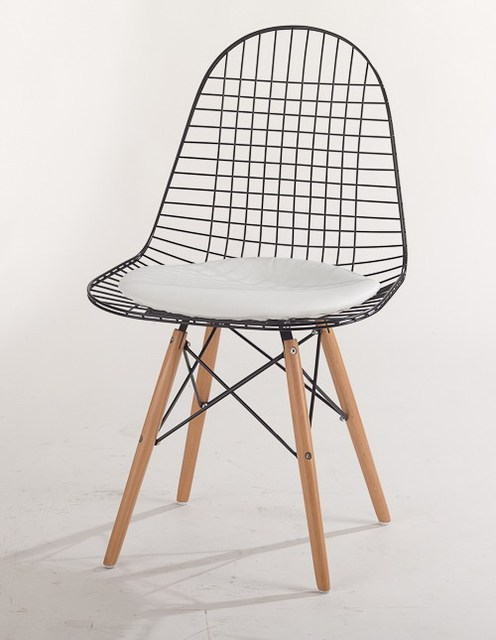 Wood Leg Wire Chair Eiffel Wood Base Metal Wire Chair Wood And Steel Chair  With Cushion