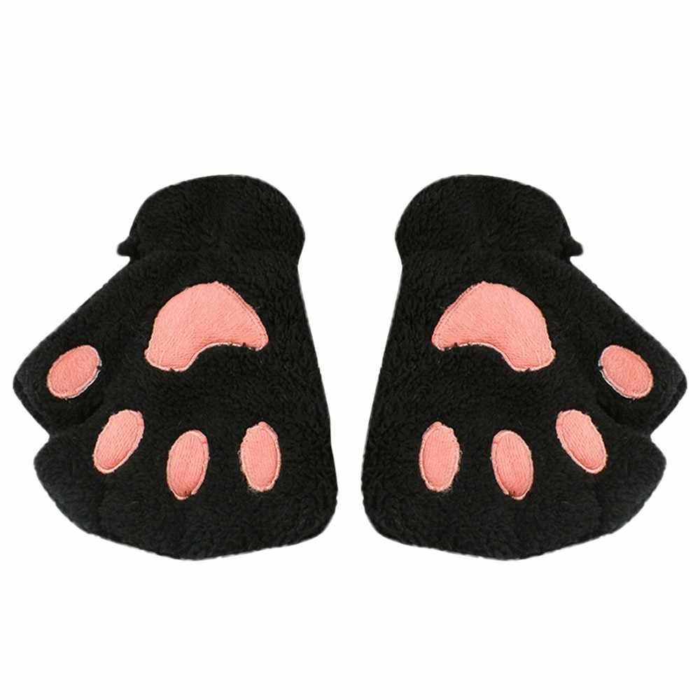 אופנה חמוד Cartoon ילדה חתול טופר Paw ללא אצבעות החורף חם חצי אצבע כפפות כפפה חורף כפפות ילדים