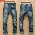 Desgaste 2017 de los hombres jóvenes pantalones cintura cremallera washed ripped jeans Rectos en Europa y el modelo de Los Estados Unidos