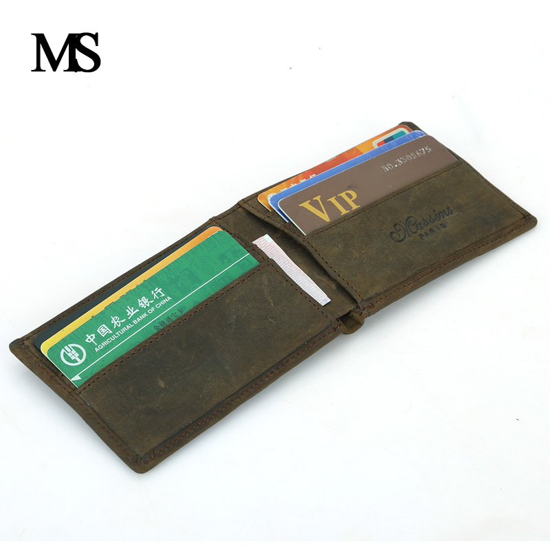 MS High Quality Mens Wallet Genuine Leather Mini Wallet Men Purse Cowhide Small Wallet Money Bag Card Holder TW1631 in Wallets from Luggage Bags