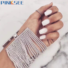 Europe Chic Claw Chains Wide Bracelets & Bangles Fashion Multilayer Shinning Rhinestone For Women Girls Gift
