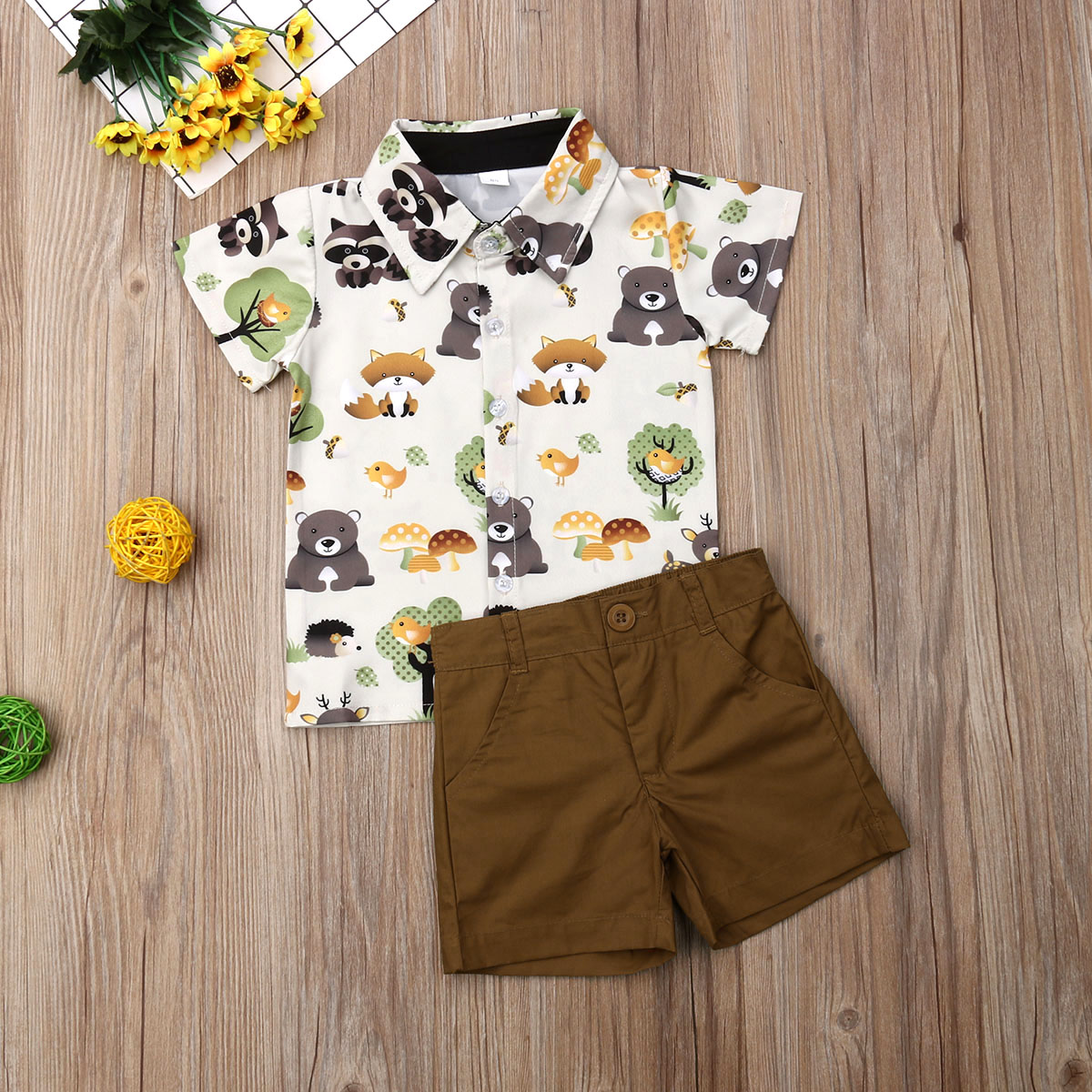 Pudcoco Summer Toddler Baby Boy Clothes Cute Animals Print Shirt Tops Short Pants 2Pcs Outfits Formal Gentleman Clothes Summer