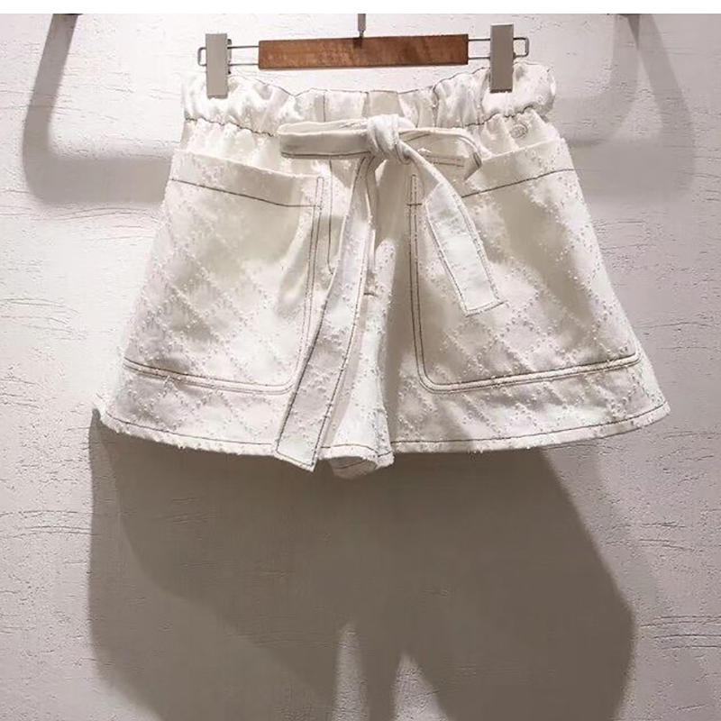 2019 spring summer fashion women s shorts ladies casual Jeans shorts shorts cotton Casual Waist bow