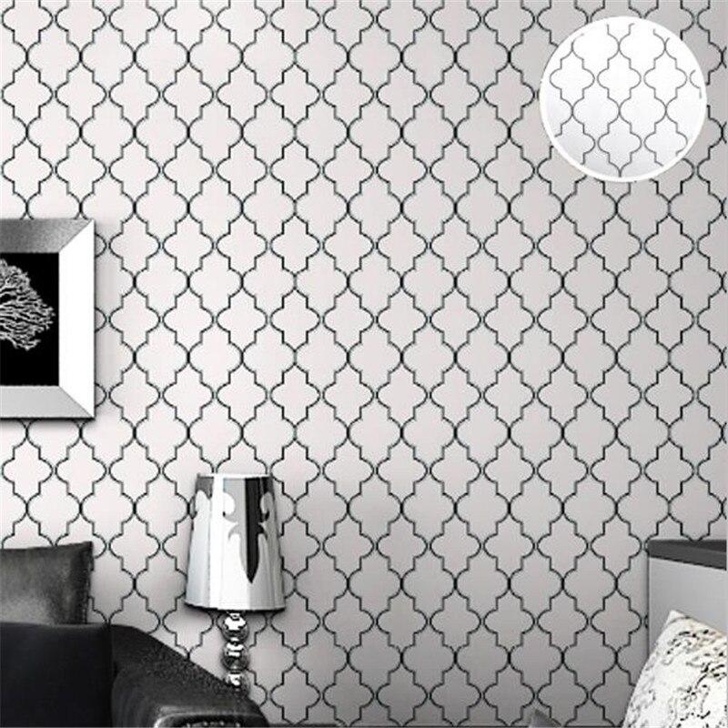 Marokkanischen Spalier Schwarz Weiß Wallpaper Für Wände 3D Grau Moderne  Geometrische Muster Wand Abdeckung Für Wohnzimmer Wohnkultur Schlafzimmer
