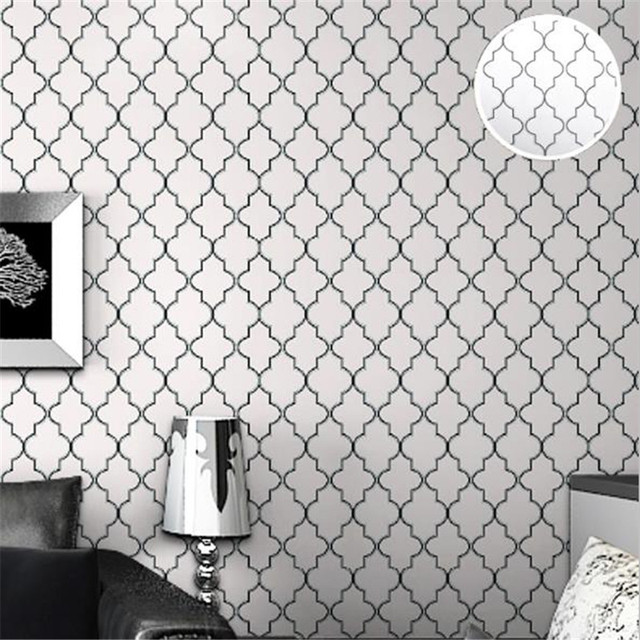 Moroccan Style Living Room Decor Led Lights For India Trellis Black White Wallpaper Walls 3d Gray ...