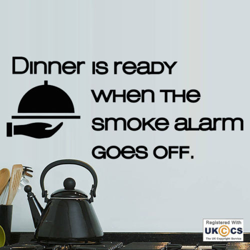 D471 Dinner Ready Smoke Alarm Kitchen Funny Food Wall Art Stickers Decals Vinyl Home