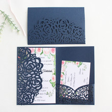 Rural invitations wedding marriage navy blue rose laser cut tri-fold pocket envelop multi colors offer customized service