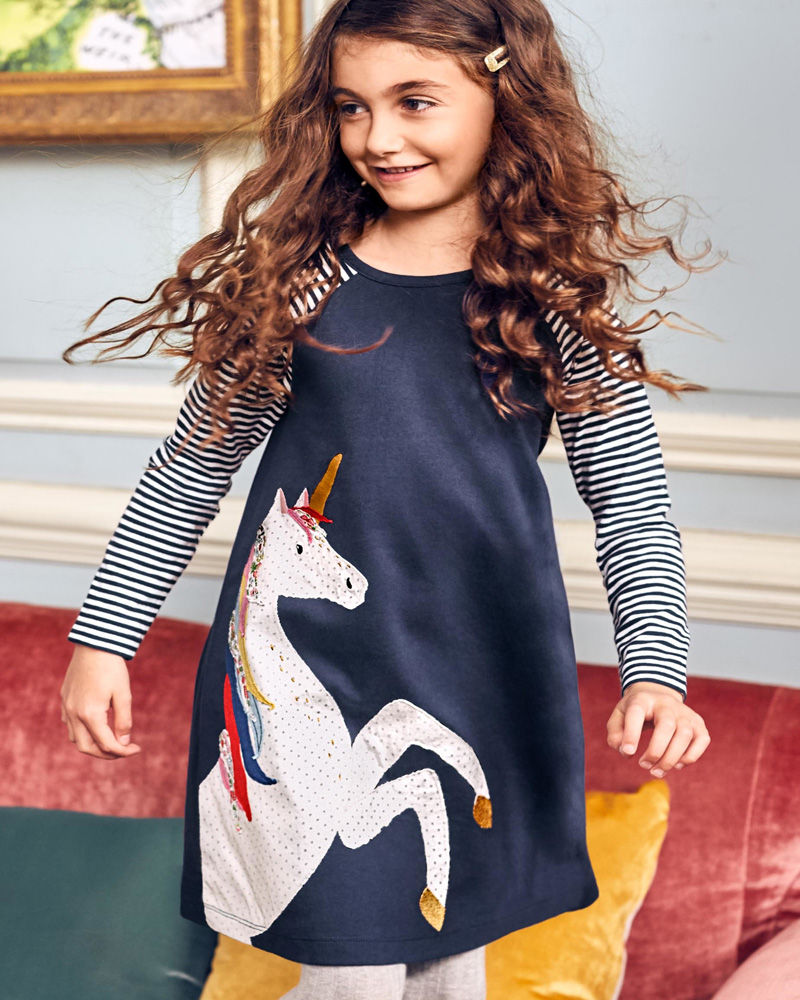 NEWEST Baby Girl Dress with Animals Princess Long Sleeve Dresses Children Autumn Clothing for Kids