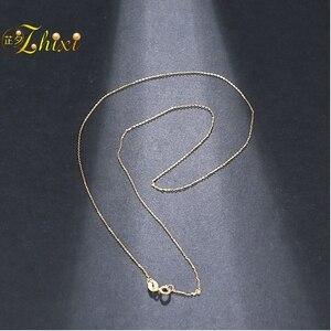 Image 4 - ZHIXI Genuino 18K Bianco Catena In Oro Giallo 18K Oro Dei Monili 18 Pollici AU750 Gioielleria Raffinata Per Le Donne Alla Moda Di Compleanno regalo D206