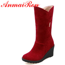 ANMAIRON Wedges Heel Zipper Half Boots Women Red Black Yellow Winter Round Toe Warm Boots  Shoes Woman Platform Boots half boots british passport half boots