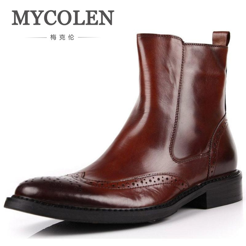 MYCOLEN Winter Vintage Motorcycle Boots Men Carving Martin Shoes Men Cowhide Leather High Top Chelsea Boots Sapato Masculino new kids children professional inline skates skating shoes adjustable washable flash wheels sets helmet protector knee pads gear