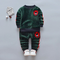 2018 Fashion Children Boys Girls Thick Clothes Sets Baby T Shirt Pants 2Pcs Sets Kids Winter