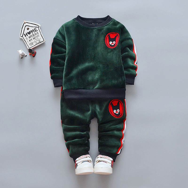 2018 Fashion Children Boys Girls Thick Clothes Sets Baby T-shirt Pants 2Pcs/Sets Kids Winter Spring Suits Toddler Tracksuits spring autumn children boy girls clothes baby hoodies t shirt and pants 3pcs suits fashion kids clothing sets toddler tracksuits