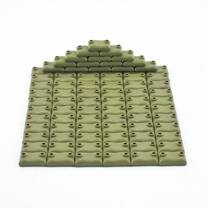Legoing Blocks 10Pcs/set Military MOC Sandbag WW2 Set Sale Building Blocks Toys For Children Assemble Army SWAT Block Toy-in Blocks from Toys & Hobbies