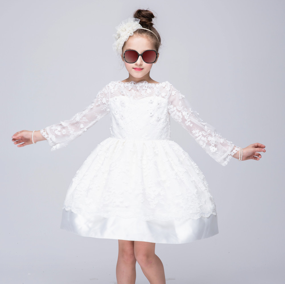 2-10T Girls Princess Dress Long Sleeve White Lace Floral Girls Dress Children Dress For New Year Holiday and Performance Show floral school long sleeve princess girls