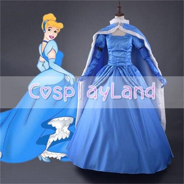 New Cinderella Dress Princess Dress for Adult Cinderella Winter Wear Formal Dress with Cloak Halloween Costumes for Women