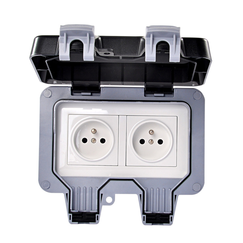 все цены на IP66 European Standard Waterproof Dual Power Socket Outlet Outdoor 16A 250V Wall Waterproof Dust-proof Electrical Outlet онлайн