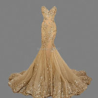 HS420 Gold Sequins Prom Dresses Luxury Mermaid Evening Gowns Sweetheart robe de soiree Gold Mermaid Long Evening Dresses 2016