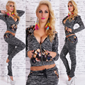 New Ladies Print Leisure Sportwear Suits 2016 Spring Autumn Fashion Women Slim Sexy Sportwear Sets Tracksuit Female