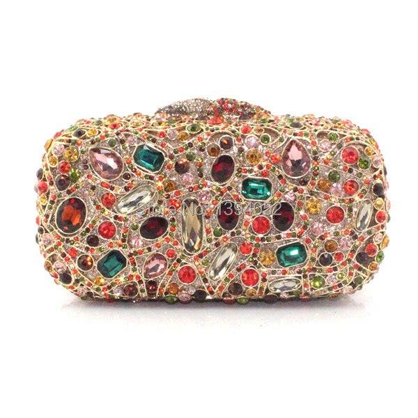 2017 New Fashion Colorful Crystal Stone Jeweled Clutch Purse Trendy Las Handbags Hand Bag
