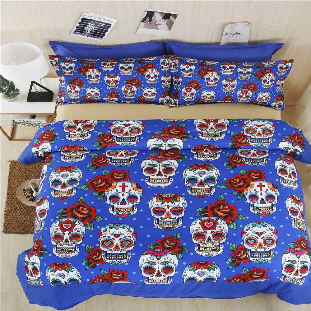 skull bedding duvet cover set twin full queen sugar skull halloween bedding set king size kids halloween holiday gift bedspreads