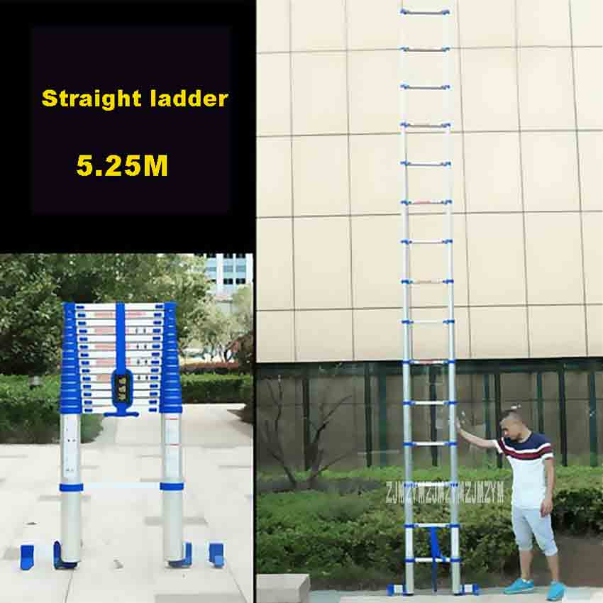 5.25M Aluminium Alloy Thicken Single-sided Straight Ladder JJS511 Portable Household Extension Ladder 15-Step Engineering Ladder