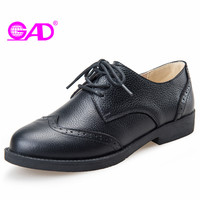 GAD Genuine Leather Women Casual Shoes New Fashion British Style Round Toe Lace Up Women Brogue