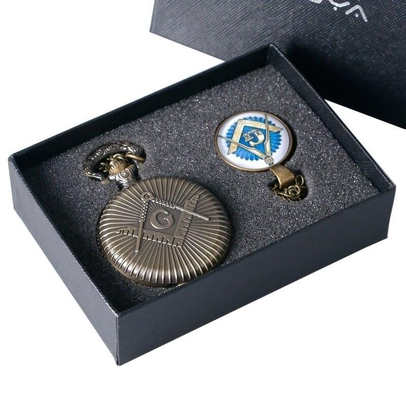 Pocket Watch Masonic Freemason Freemasonry Theme Alloy Quartz Fob Pocket Watch With Necklace Chain Gift Watch Set For Men