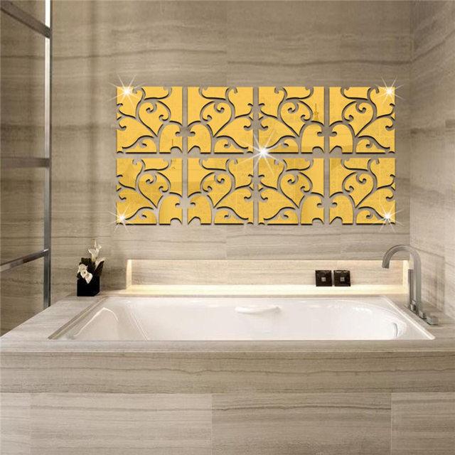 32pcs 30*120cm Gold/Silver DIY Wall Mirror Acrylic Mirrored ...